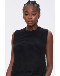 Forever 21 Distressed Sweater-knit Top - Black