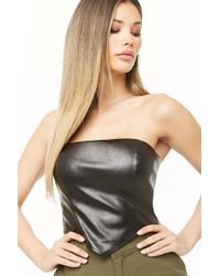 51671c00fa Lyst - Forever 21 Faux Leather Crop Top in Black