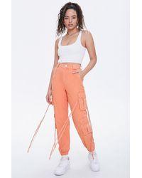 Forever 21 Twill Cargo Sweatpants - Orange