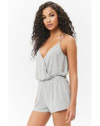 Forever 21 Women's Surplice Camisole Top Playsuit - Grey