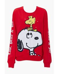 Forever 21 Snoopy Light-up Pullover - Red