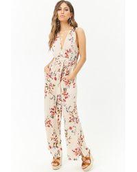 9492fdd93056 Forever 21 - Crinkled Floral Surplice Tie-front Jumpsuit - Lyst