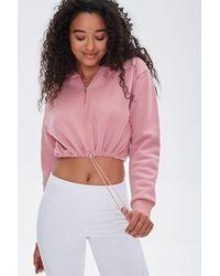 Forever 21 Active Half-zip Fleece Pullover - Pink
