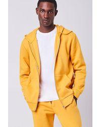 Forever 21 Fleece Zip-up Hoodie - Yellow