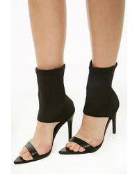 Forever 21 Open-toe Sock Heels , Black