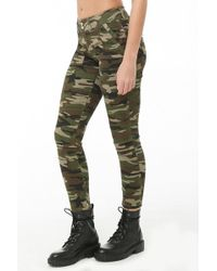 Forever 21 - Camo Print Skinny Ankle-zip Trousers - Lyst