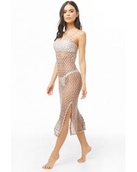14ac8eee8c Forever 21 - Sheer Metallic Swim Cover-up Dress , Taupe/silver - Lyst