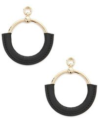 Forever 21 - Faux Leather-wrapped Drop Hoop Earrings - Lyst