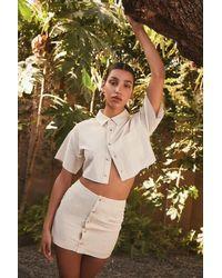Forever 21 Linen-blend Shirt & Skirt Set - White