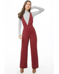 Forever 21 - Plunging Pinafore Jumpsuit , Burgundy - Lyst