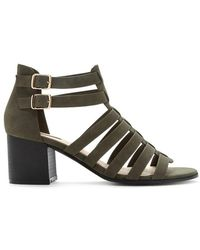 Forever 21 Faux Suede Caged Heel - Green