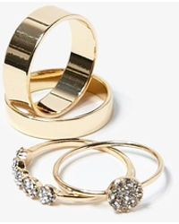 Forever 21 Rhinestone Rings Set , Gold/clear - Metallic