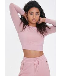 Forever 21 Active Mesh-sleeve Crop Top - Pink