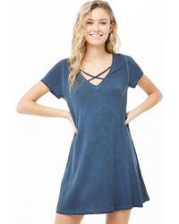 5751087a9d7 Forever 21 - Crisscross V-neck T-shirt Dress - Lyst