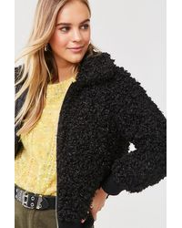 Forever 21 Boucle Knit Teddy Jacket - Black