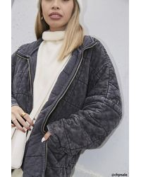 Forever 21 Quilted Zip-up Jacket - Gray