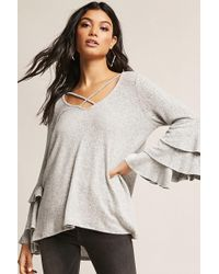 Forever 21 - Marled Knit Bell Sleeve Top - Lyst