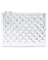 Forever 21 Quilted Metallic Makeup Pouch , Silver