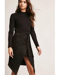 Forever 21 - Faux Suede Mock-wrap Skirt - Lyst