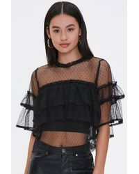 Forever 21 Tiered Clip Dot Top - Black