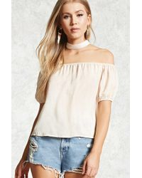 e09de59a4d9 Forever 21 Ribbed Choker Crop Top in Black - Lyst