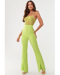 Missguided Lace Bustier Jumpsuit At , Lime - Green