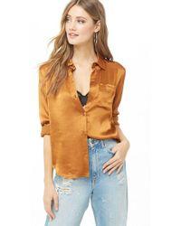 Forever 21 - Satin Pocket Shirt - Lyst