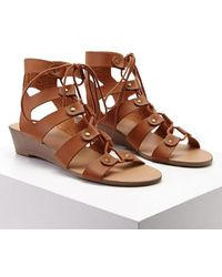 Forever 21 Leather Caged Wedges , Tan - Brown