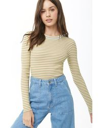 Forever 21 - Women's Striped Ribbed Top - Lyst