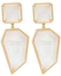Forever 21 Faux Gem Geo Drop Earrings , Gold/clear - Metallic