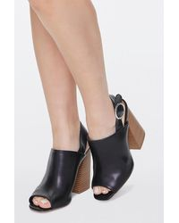 Forever 21 Stacked Wooden Block Heels - Black