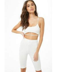 Forever 21 Cutout Cropped Cami & Biker Shorts Set , Ivory - White