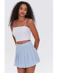 Forever 21 Plaid Pleated Mini Skirt - Blue