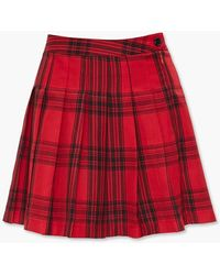 Forever 21 Pleated Plaid Mini Skirt - Red