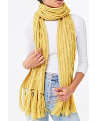 Forever 21 Cable Knit Oblong Scarf - Yellow