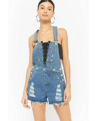 Forever 21 - Women's Lace-up Distressed Denim Dungarees Shorts - Lyst