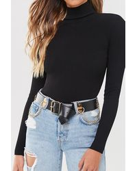 Forever 21 Faux Leather Chain Belt , Black/gold