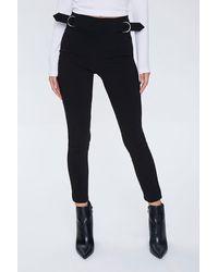 Forever 21 Skinny Waist-tab Ankle Pants - Black