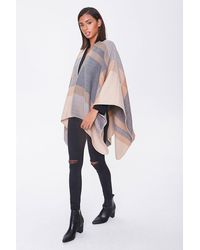 Forever 21 Plaid Whipstitched Poncho - Gray
