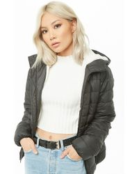 Forever 21 - Hooded Faux Shearling-lined Puffer Jacket - Lyst