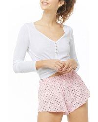 Forever 21 Women's Smock-waist Heart Print Pyjama Shorts - Pink