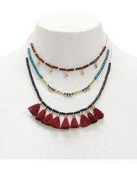 Forever 21 - Tasseled & Beaded Layer Necklace - Lyst