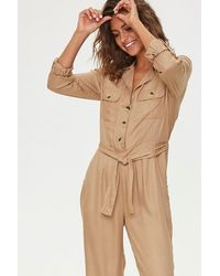 Forever 21 Tie-waist Button-front Jumpsuit - Natural
