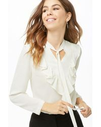 Forever 21 - Sheer Flounce Top - Lyst