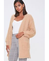 Forever 21 Fuzzy Knit Open-front Cardigan - Natural