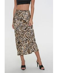 Forever 21 Satin Leopard Print Skirt - Black