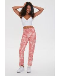 Forever 21 Tie-dye Ankle Jeans - Pink