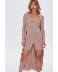 Forever 21 Ribbed Knit Romper & Duster Cardigan Set - Multicolour