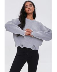 Forever 21 Distressed Sharkbite Sweater - Grey