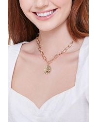 Forever 21 Chunky Coin Pendant Necklace - Metallic